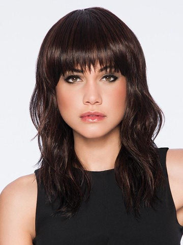 Blunt-cut bangs and long, softly textured layers | Color: R435S+ Black Cherry