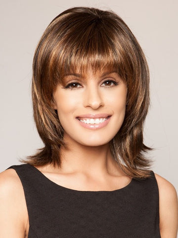 INFATUATION by Raquel Welch in SS829S+ SHADED HAZELNUT | Rich Medium Brown Evenly Blended with Ginger Blonde Highlights with dark roots
