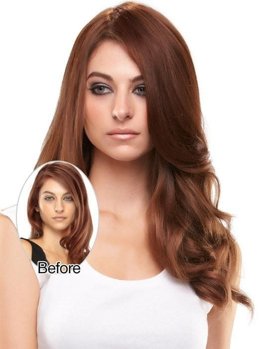Model Before & After in 8/30 GINGER BROWN | Medium Brown Evenly Blended with Medium Auburn