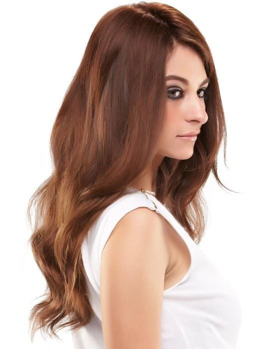 The base is hand-knotted to create the appearance of natural hair growth