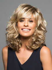 A contemporary, shoulder length curly wig
