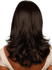 Long, layered synthetic wig