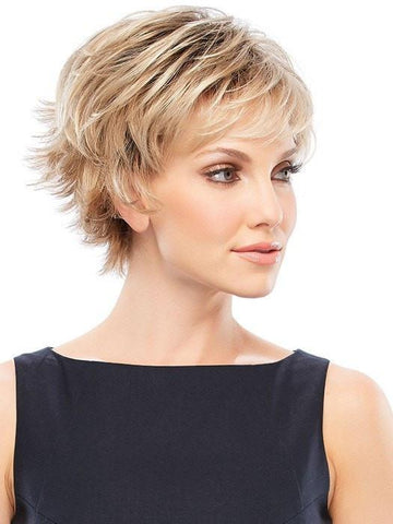 Short petite wig with an ultra-lightweight cap, layered sides and crown, and a flipped-out nape