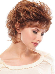 Loosely curled styled with layered sides and crown for added volume