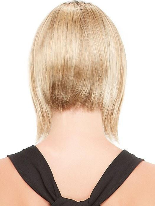 Angled to be longer in the front and shorter in the back