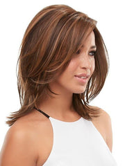 The lace front and monotop provide multidirectional, natural movement, and silken HD fiber can be heat-styled