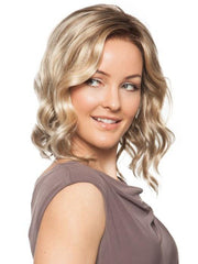 JULIANNE WIG by Jon Renau in 12FS8 SHADED PRALINE | Light Gold Blonde and Pale Natural Blonde Blend, Shaded with Dark Brown