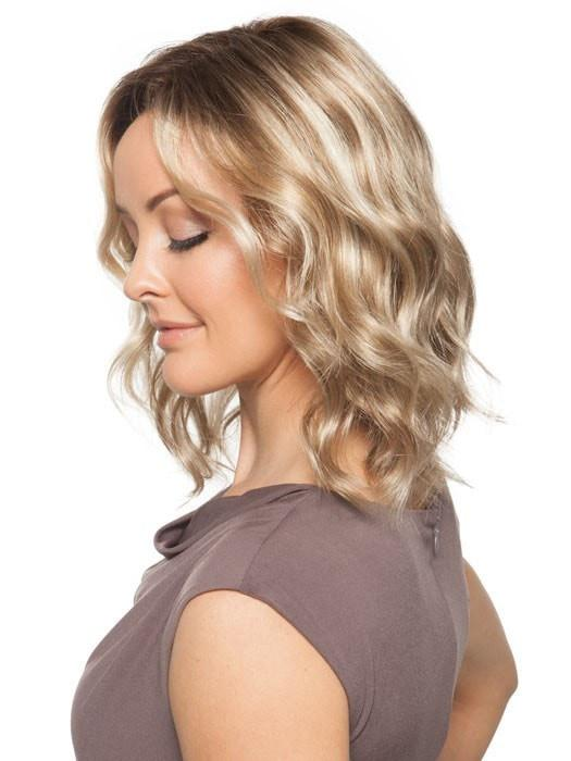 A wavy, mid-length bob cut wig that looks incredibly natural