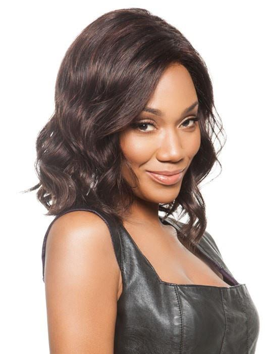 JULIANNE by Jon Renau, also great wig for Women of Color, shown in 4/33 CHOCOLATE RASPBERRY TRUFFLE | Darkest Brown and Medium Red Blend