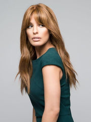 Styled with soft loose waves | Color 6F27 Brown with light red gold blonde highlights & tips