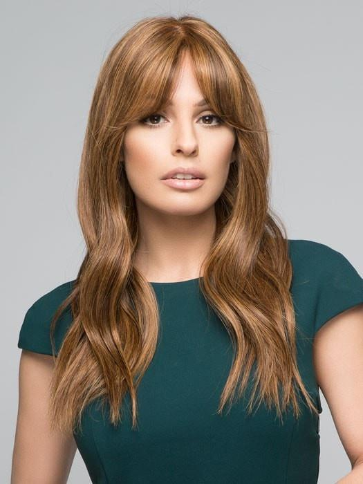 LEA by Jon Renau in 6F27 | Dark Brown with Natural Red-Gold Blonde Highlights and Tips (This piece has been styled for this look)