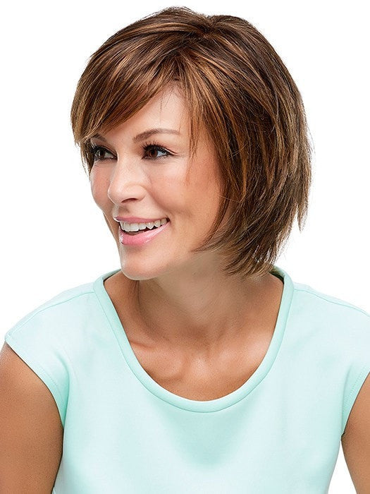 Hand-tied Cap with a Monofilament Top. | Color: 6F27 Brown with Light Red-Golden Blonde and Red Golden Blend