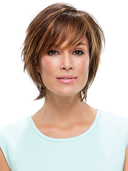 Sassy , short shag with textured layers all over | Color: 6F27 Brown with Light Red-Golden Blonde and Red Golden Blend