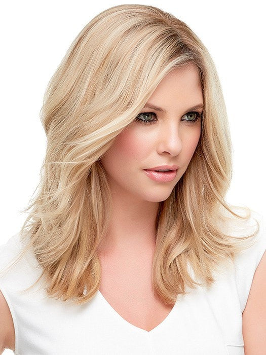 Allows you to part the hair in any direction | Color 12FS8 Light Golden Brown, Light Natural Golden Blonde & Pale Natural Golden Blonde Blend w/ Dark Brown Roots