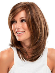 SANDRA by Jon Renau in 6F27 CARAMEL RIBBON | Natural Gold Brown with Medium Red-Gold Blonde Highlights and Tips