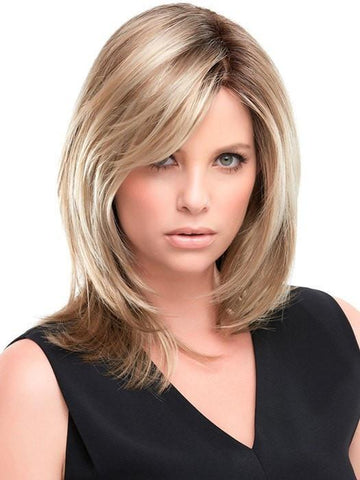 SANDRA by Jon Renau in 12FS8 SHADED PRALINE | Light Gold Brown, Light Natural Gold Blonde and Pale Natural Gold-Blonde Blend, Shaded with Medium Brown