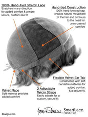 100% Hand-Tied and Lace Front, see Cap Construction Chart for details