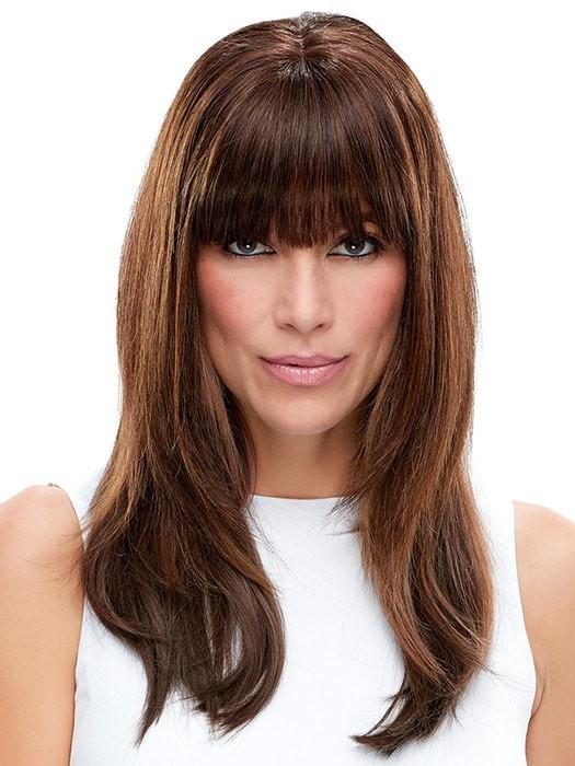 EASIFRINGE by easihair in 6RN DARK BROWN | Human Hair Renau Natural (The fringe is customized to reflect blunt bangs as an option)