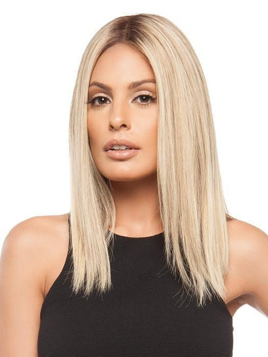 GWYNETH  by Jon Renau in 12FS8 SHADED PRALINE | Light Gold Brown, Light Natural Gold Blonde and Pale Natural Gold-Blonde Blend, Shaded with Medium Brown (This piece has been styled and straightened)