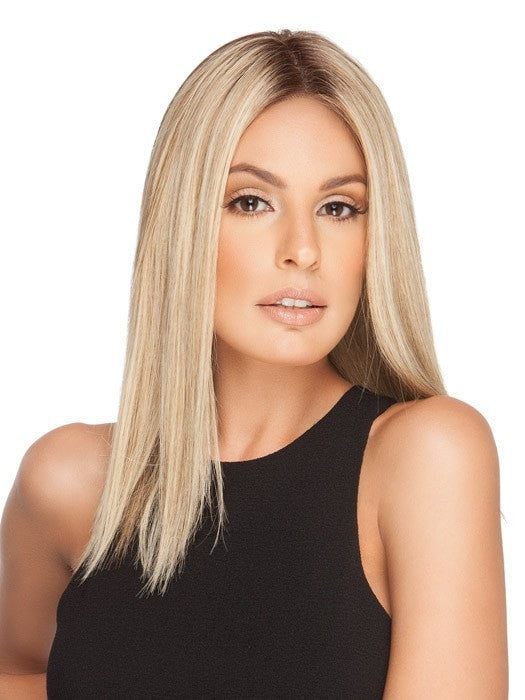 GWYNETH EXCLUSIVE COLORS by Jon Renau in 12FS8 SHADED PRALINE | Light Gold Brown, Light Natural Gold Blonde and Pale Natural Gold-Blonde Blend, Shaded with Medium Brown (This piece has been styled and straightened)