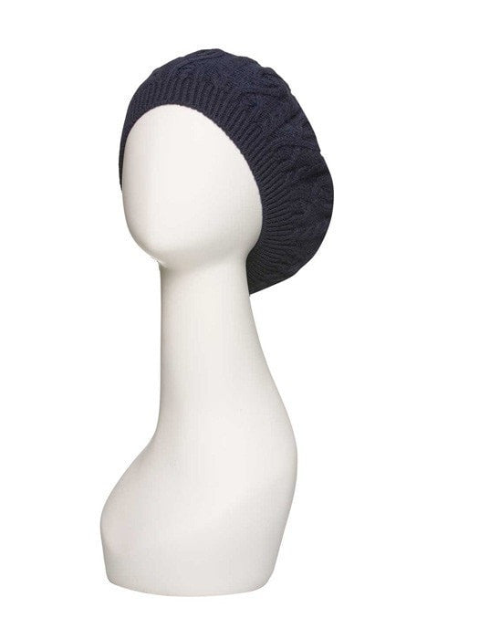Cable Knit Beret by Jon Renau | Color Navy