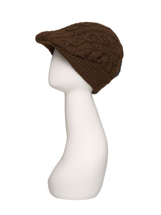 Cable Knit Gatsby Hat by Jon Renau | Color Brown