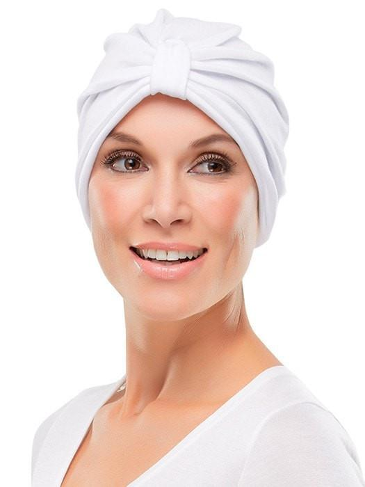 POLY COTTON TURBAN by Jon Renau in WHITE