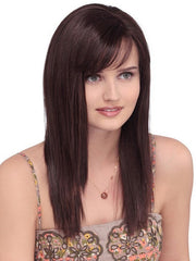 Long and straight synthetic wig with monofilament top.