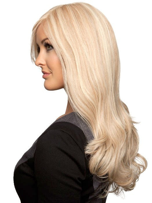 The combination of human hair with a lace front, monofilament and 100% hand-tied cap make this style top of the line