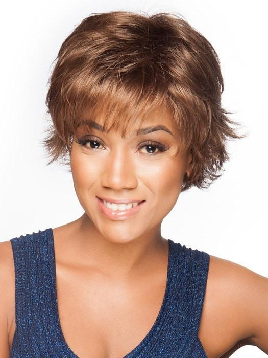 This synthetic wig is pre-styled with flipped layers and is ready-to-wear out of the box