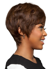 Great short semi down curl hairstyle with a tapered nape & made with 100% human hair.