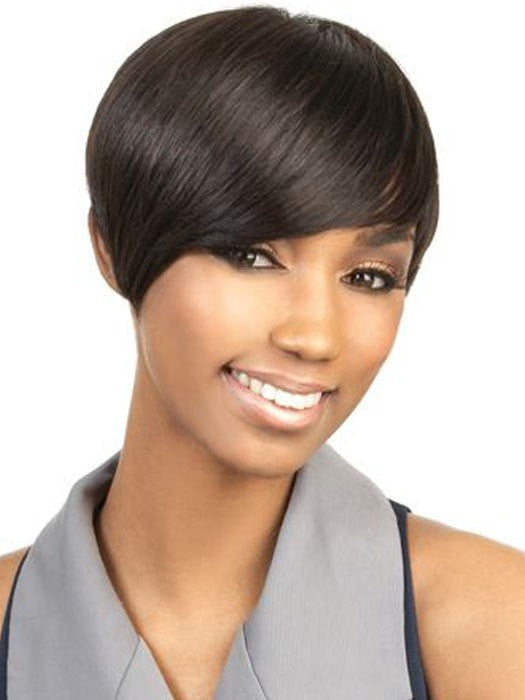 H-Volta Wig by Motown Tress | Human Hair in 1B Jet Black
