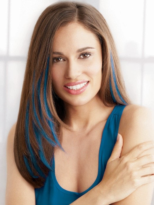 "Color Blue | 16"" Human Hair Clip In Color Strips by hairdo"