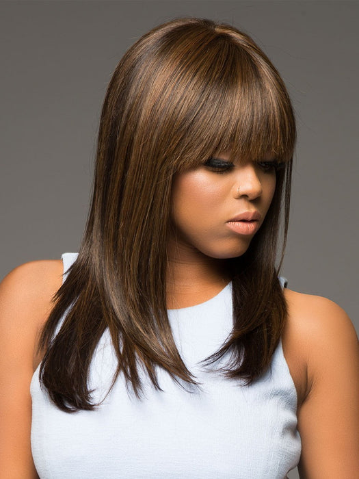 TARYN by ENVY in 10 MEDIUM BROWN | Medium Brown with natural highlights (This piece has been styled and straightened)