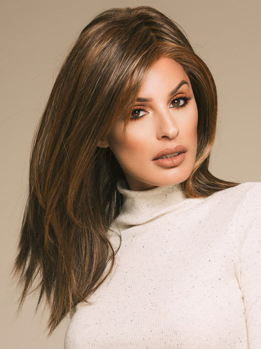 SHOW STOPPER by RAQUEL WELCH in RL8/29 HAZELNUT | Warm Medium Brown Evenly Blended with Ginger Blonde