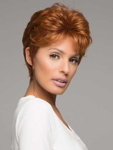 WHISPER by RAQUEL WELCH in R28S GLAZED FIRE | Fiery Red with Bright Red Highlight on Top
