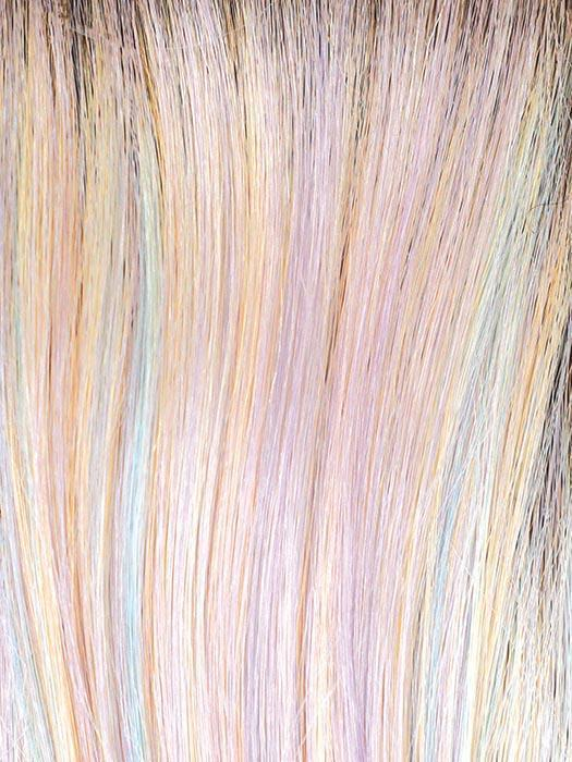 PASTEL-RAINBOW-R | Pearl Base mixed with Lavender, Mint, and Sunny Yellow with Dark Roots
