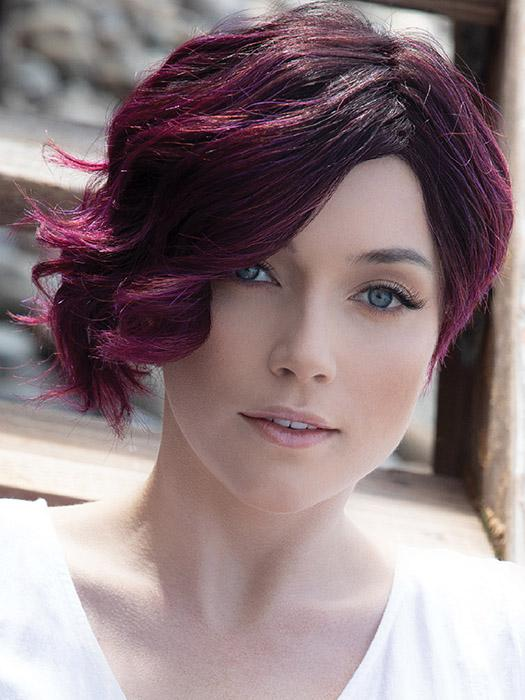 VEE by RENE OF PARIS in PLUMBERRY-JAM LR | Medium Plum with Dark roots with mix of Red/Fuschia With Long Dark Roots