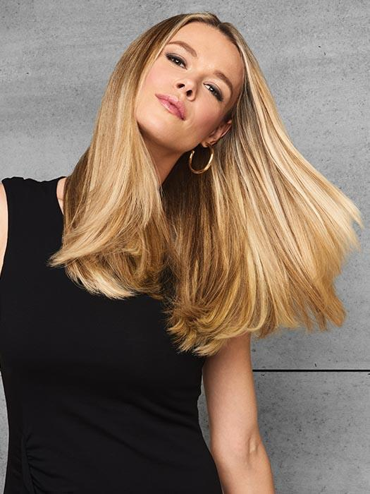 This clip-free extension slips on like a headband to add instant length and thickness.
