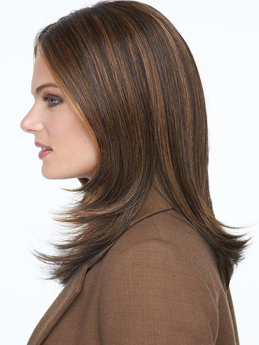 The lace front is extended to the temples so that the cut can be clipped up and away from the face