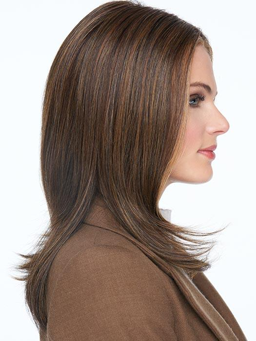 The temple-to-temple lace front with a center monofilament part makes this style up-to-date and on trend
