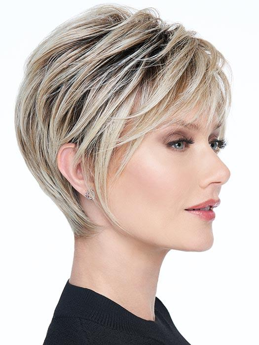 A contemporary short style, includes a sculpted back for a stunning profile and shorter waved layers in the crown for fullness and texture