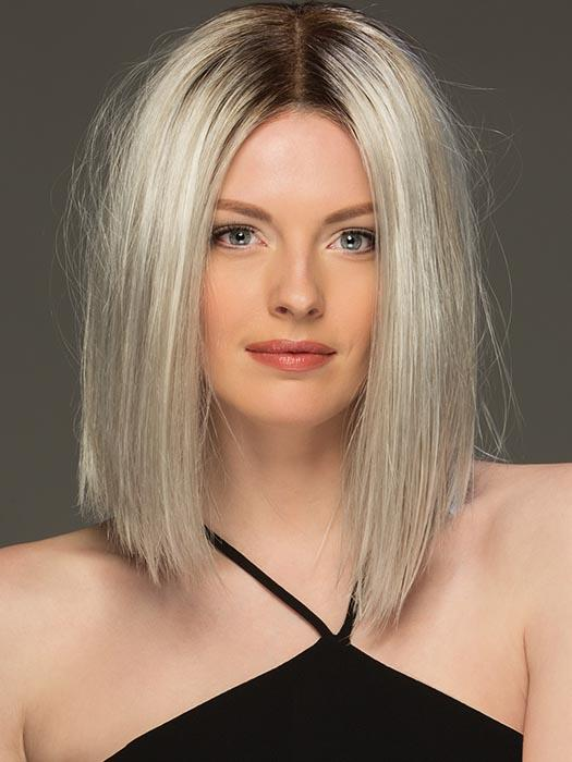 SUTTON by ESTETICA in SILVERSUNRT8 | ICED BLONDE WITH SOFT SAND & GOLDEN BROWN ROOTS