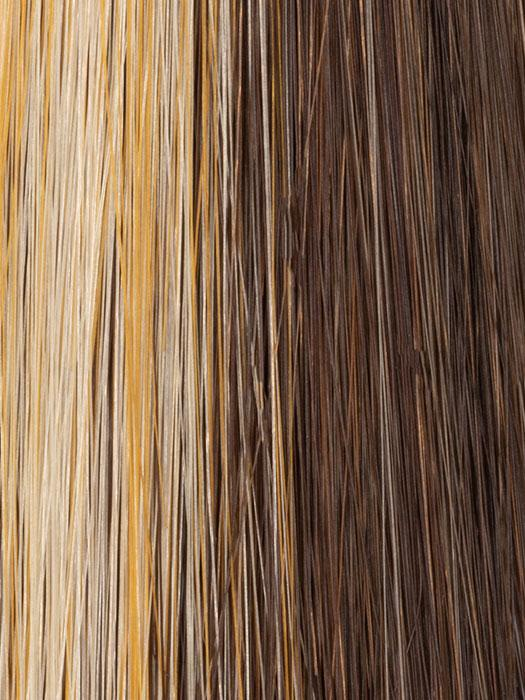 825 GOLDEN WALNUT | Warm Dark-Medium Brown and Frosted Golden Blonde Highlights