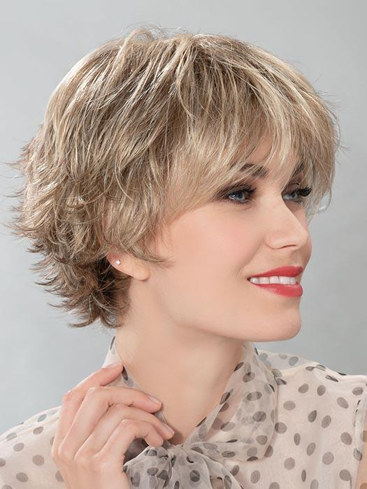 This flattering style features a small monofilament crown, which creates a natural look where the hair falls