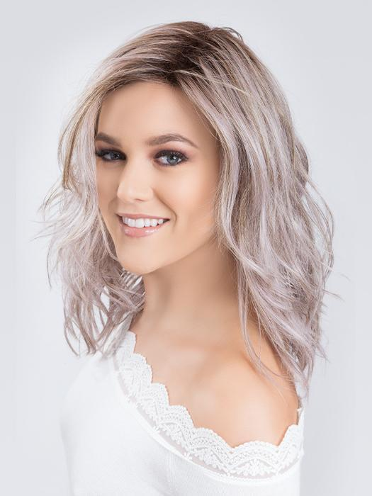 TABU by ELLEN WILLE in LAVENDER | Medium Dark Brown Root, Blended into a Light Silver Smoke Tones, Blended with Various Shades of Purple