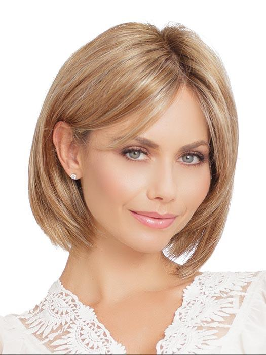 Classic, angled bob with longer, side-swept fringe