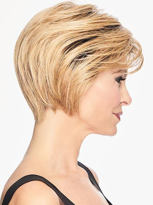 Textured bangs are easily worn onto the face or swept to the side