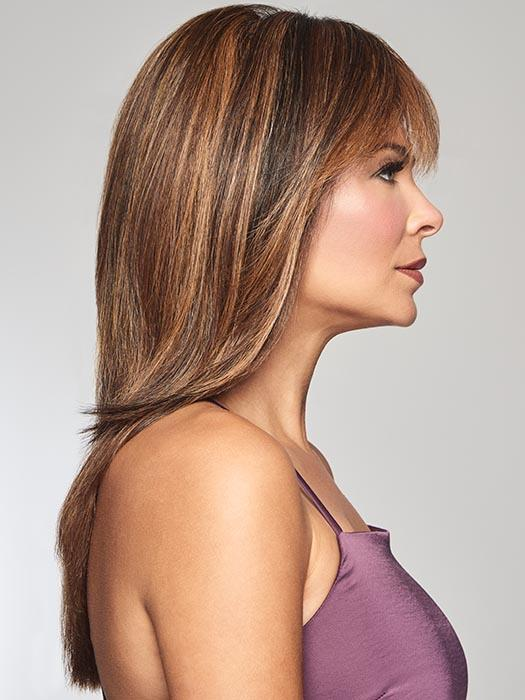 TOP BILLING by RAQUEL WELCH in R829S GLAZED HAZELNUT | Rich Medium Brown with Ginger Highlights on Top