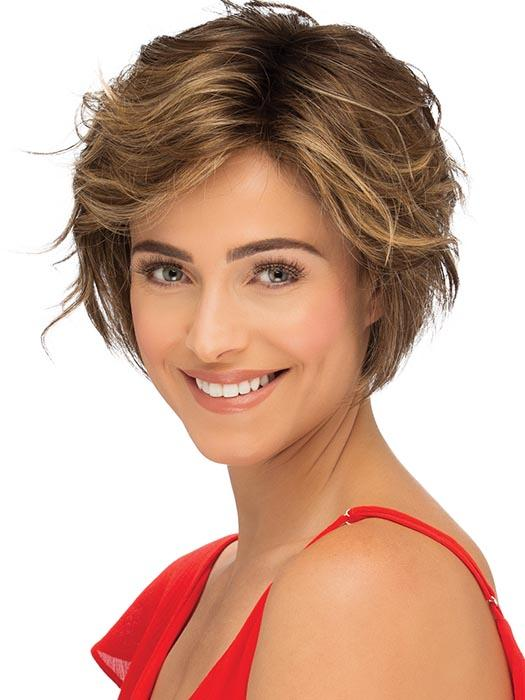 A short modern bob with subtle layers and waves